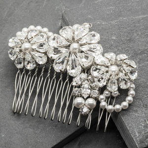 Bridal Bridesmaid Rhinestone And Pearl Hair Comb