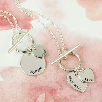Personalised Sterling Silver Toggle And Charm Necklace