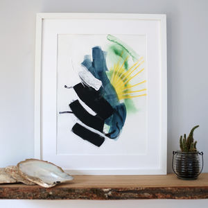 'Precipice' Bold Yellow And Green Modern Art Print