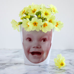 Personalised 'Face Plant' Photograph Plant Pot - 50th birthday gifts