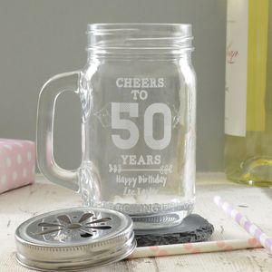 Happy Birthday Personalised Drinking Jar - kitchen accessories
