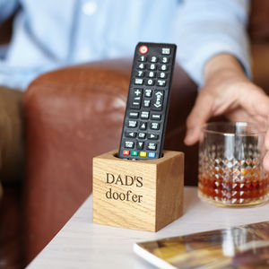 Personalised Solid Oak Remote Control Pot