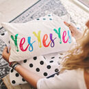 'Yes Yes Yes' Velvet Cushion