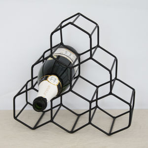 Antique Gold Geometric Wine Rack - storage & organisers