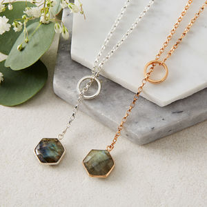 Rose Gold Plated Hex Gem Loop Necklace