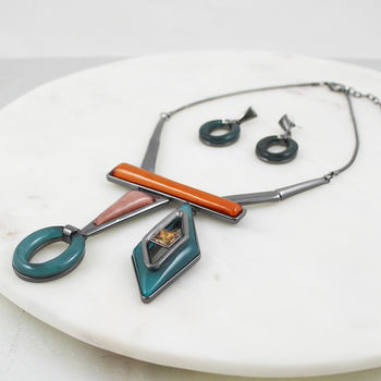 Geometric Shapes Necklace And Earring Set