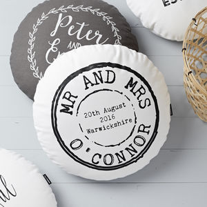 Personalised Round Wedding Stamp Cushion - travel inspired wedding gifts