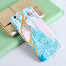 Turquoise And White Granite Phone Case Design