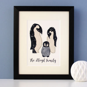 Personalised Penguin Family Embroidered Artwork - animals & wildlife