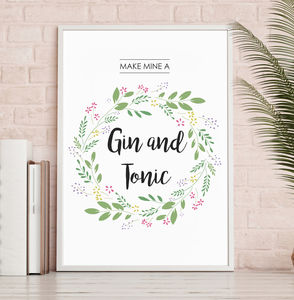 Gin And Tonic Lovers Typography Print - posters & prints