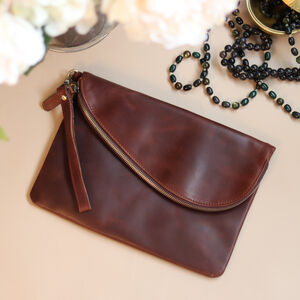 Brown Leather Fold Over Clutch Bag