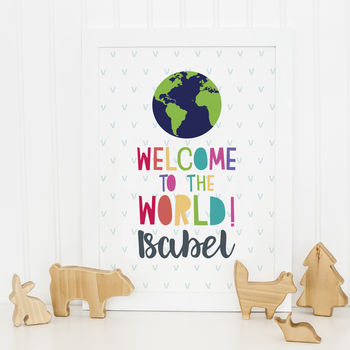 Personalised Welcome To The World Framed Print