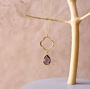 Amethyst February Birthstone Clover Necklace - necklaces & pendants