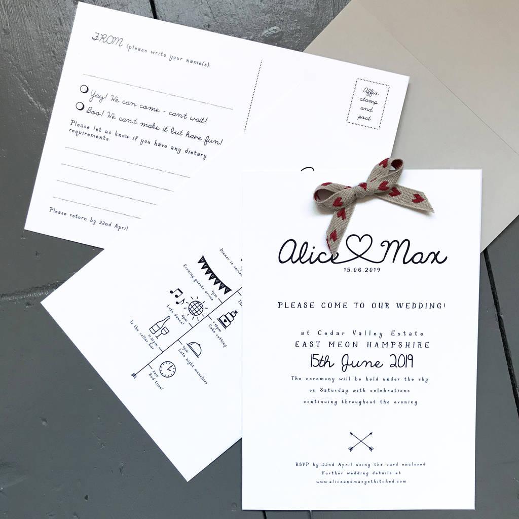 colour pop heart wedding invitations by tigerlily wedding stationery ...