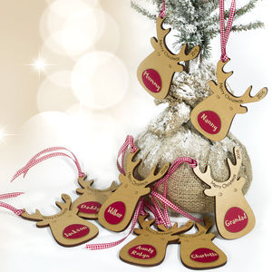 Eight Personalised Reindeer Gift Tags