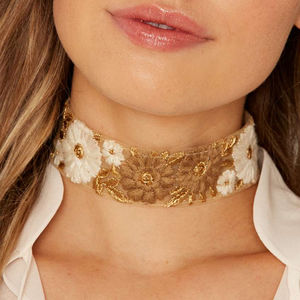 Embroidered Floral Choker - necklaces & pendants