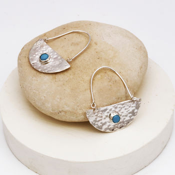 Silver Semi Circle Boho Earrings With Turquoise