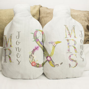 Mr And Mrs Couples Hot Water Bottle Cover Gift Set