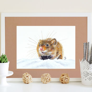 Snow Field Mouse Signed Mounted Giclée Print