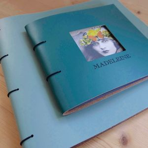 Square Frame Fronted Leather Photo Album