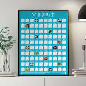 100 Dishes Scratch Off Bucket List Poster - food & drink prints
