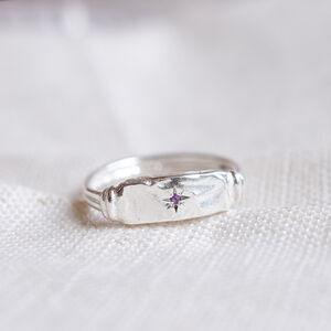 Birthstone Star Set Textured Rectangle Signet Ring