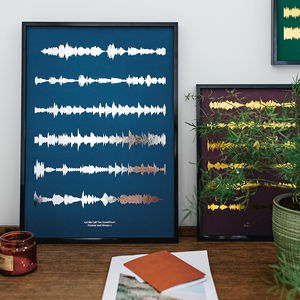 Metallic Personalised Favourite Song Sound Wave Print - gifts for husband or boyfriend