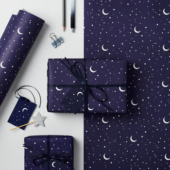 Night Sky Christmas Wrapping Paper Set