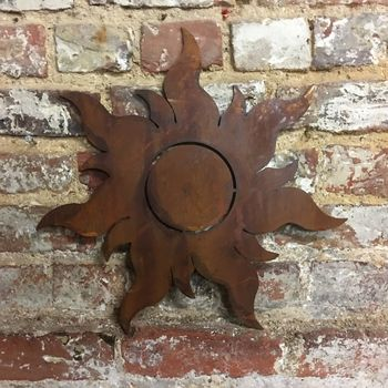 Rusted Metal Sun Garden Ornament Sign