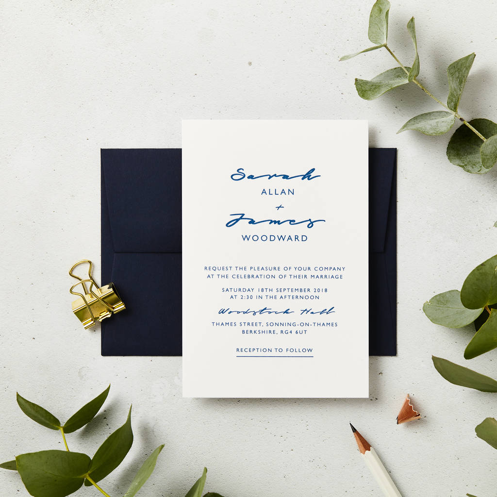 navy script wedding invitations by doodlelove notonthehighstreet com