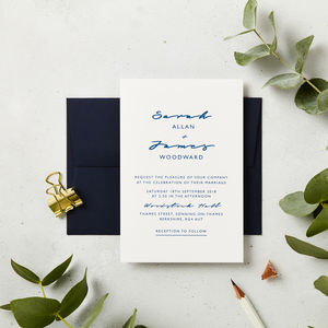 Navy Script Wedding Invitations - invitations