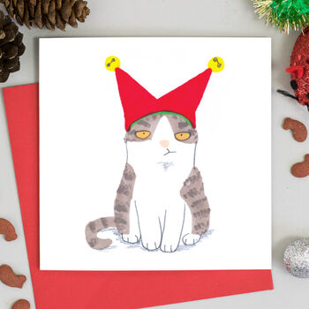 Cat In Jester Hat Christmas Card