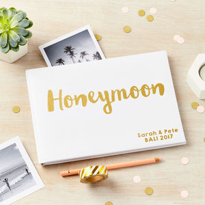 Personalised Gold Foil Honeymoon Photo Album Journal - albums & guest books