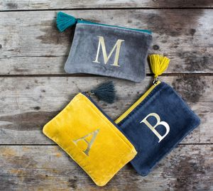 Velvet Purse With A Gold Letter - bags & purses