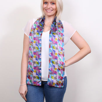 Bloom Long Double Sided Silk Scarf