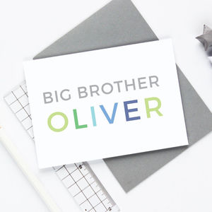 Personalised Big Brother Card - new baby cards