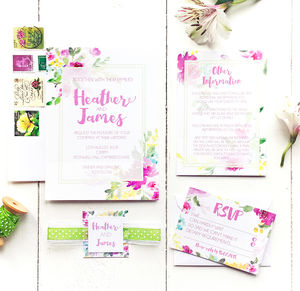 Watercolour Floral Wedding Invitation Set