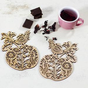 Apple And Bird Coaster Set