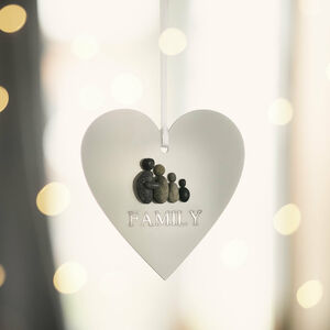 Personalised Family Pebble Christmas Hanging Heart
