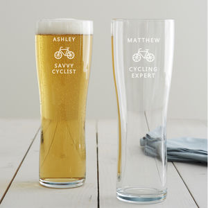 Personalised Cycling Pint Glass - summer sale
