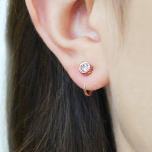 Tiny Rose Gold Hoop White Topaz Stud Earrings - birthstone jewellery gifts