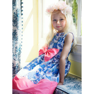 Pink And Blue Flower Girl Occasion Party Dress With Bow - summer sale