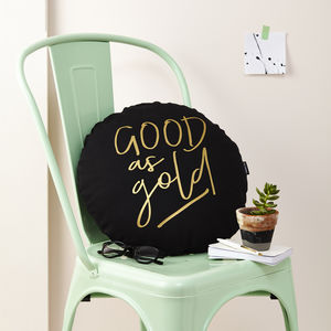 'Good As Gold' Round Metallic Cushion - bedroom