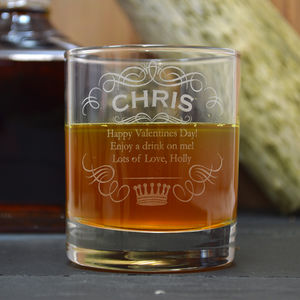 Name And Crown Engraved Whisky Tumbler - drink & barware