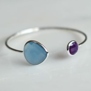Blue Chalcedony And Purple Amethyst Silver Bangle - gemstones