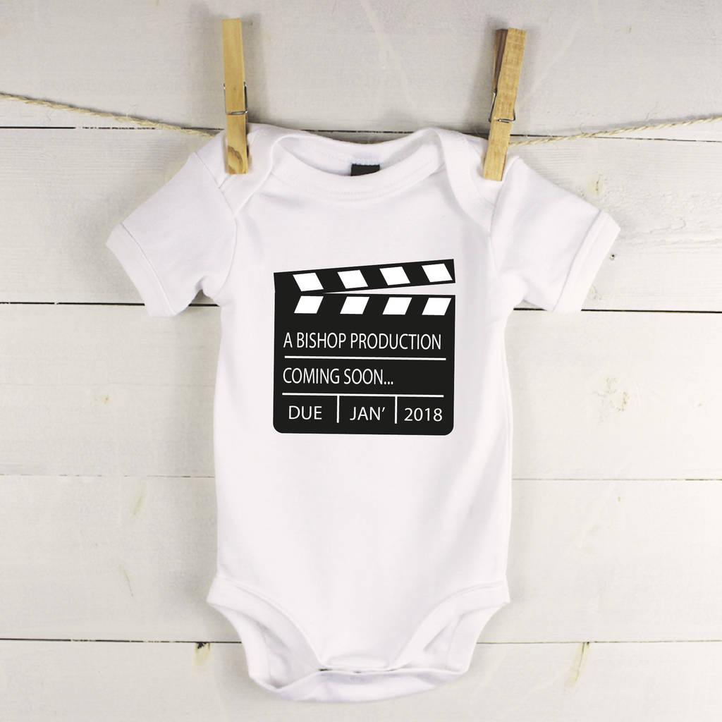 personalised film baby announcement babygrow by lovetree design – Coming Soon Baby Announcements