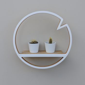 Modern Wooden Circle Shelf With Notch