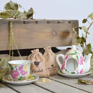 Personalised Teapot And Teacup Bird Feeder With Seeds - gifts for grandparents