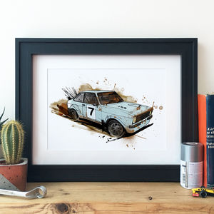 Ford Mk Two Escort Rally Car Illustration