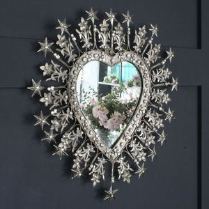 Heart Shaped Diamante Antique Finish Mirror